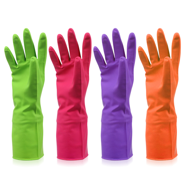 Fashion Rubber Gloves Household Necessities Practical Waterproof Kitchen Cleaning Tool Heatproof Slipproof Colorful