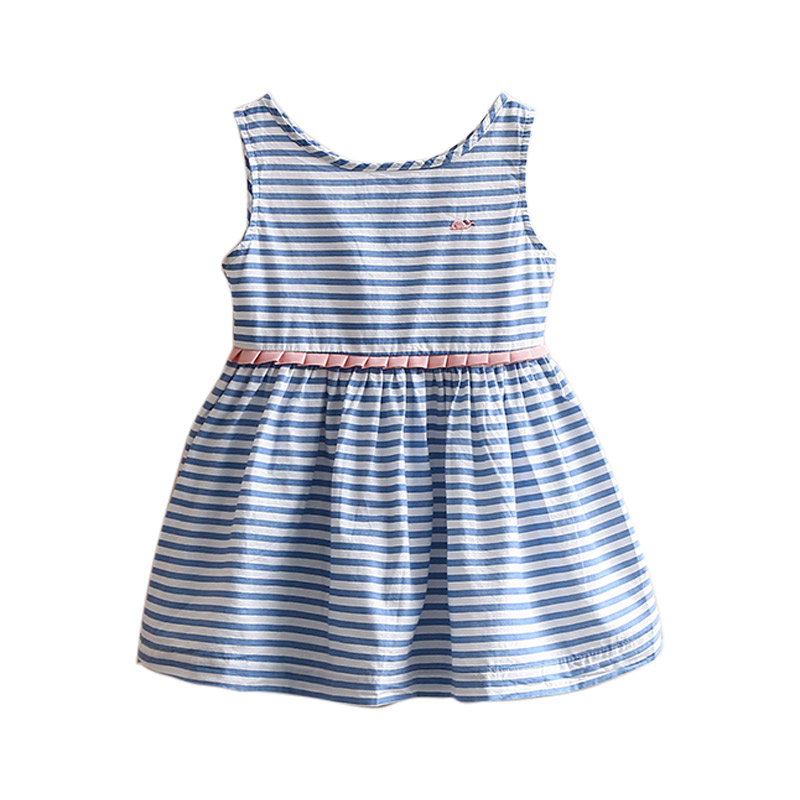 Kids Clothes 2018 <font><b>Summer</b></font> New Fashion Casual Sleeveless Stripe Embroidery 2 3 4 6 8 10 <font><b>12</b></font> <font><b>Years</b></font> <font><b>Old</b></font> Blue <font><b>Dresses</b></font> <font><b>For</b></font> <font><b>Girls</b></font> Kids image