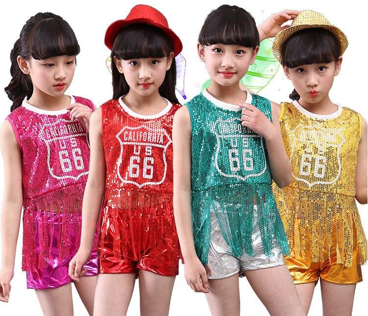I Bambini In Scena Dancewear Bambini Hip-hop Jazz Vestito Da Ballo Di Danza Moderna Costumi Della Ragazza Di Usura Di Usura Di Ballo Abiti Di Scena Vestiti Tuta