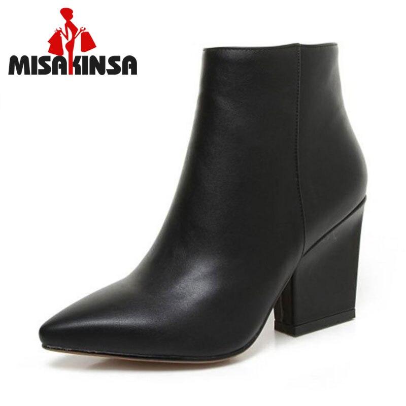 Misakinsa Sexy Autumn Ol Mature Black Ankle Boots Women -7622