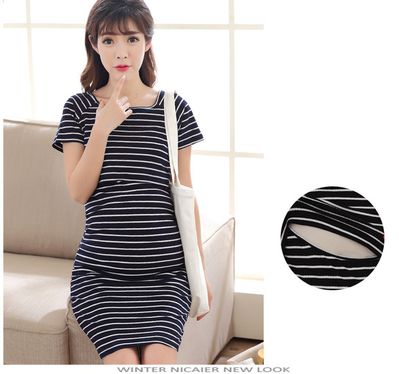 Summer Short sleeve Stripe Maternity Clothes Nursing pregnant dress Breastfeeding Nursing Clothes for pregnant women Maternity