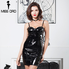 MISS ORD 2017 Sexy  latex  off the shoulder mini dress party dress FT8140