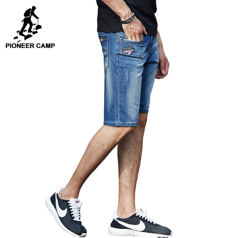 Pioneer Camp Fashion Summer Casual Cotton Denim Shorts Solid Embroidery Men Short Jeans For Youth Brand Clothing 655123