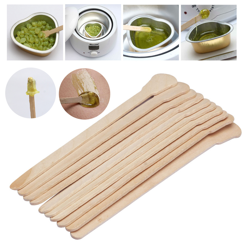 50pcs Wooden Waxing Wax Spatula Tongue Disposable Bamboo Sticks Hair Removal Stick Tattoo Medical Spatula Stick Health Tool