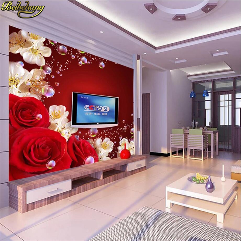 Beibehang Papel De Parede 3D Stereoscopic Large Mural Of Red Roses Cozy Living Room TV Background Wallpaper Seamless Theme Room