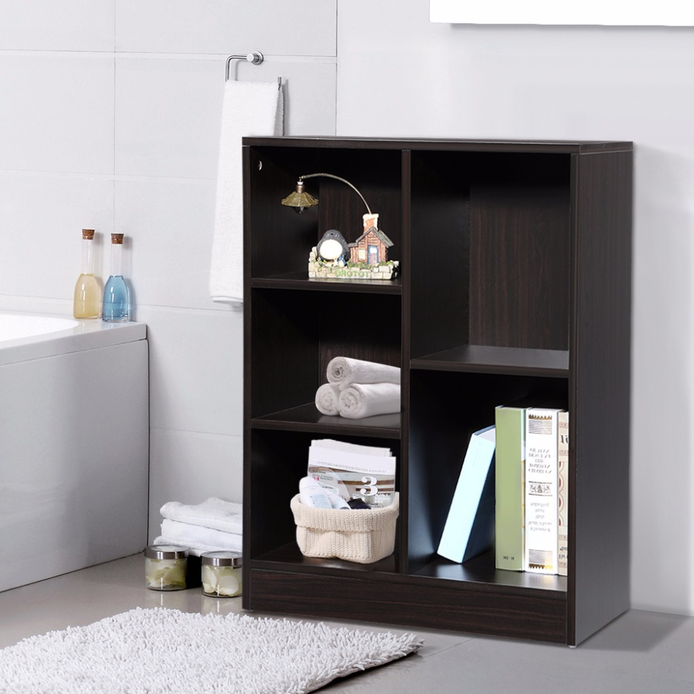 Bathroom cabinets storage units - Langria Classic Minimalist Cabinet Shelving Unit Storage Organizer With 5 Compartments For Home And Office