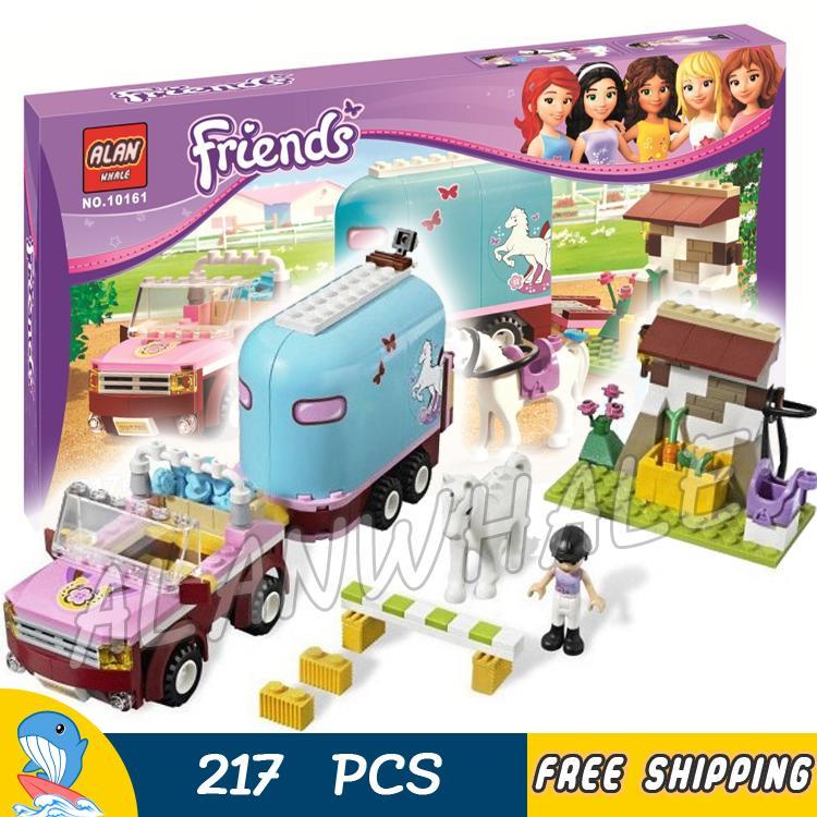 217pcs Friends Heartlake City Emmas Horse Trailer 10161 Model Building Blocks Lovely Children Toys Bricks Compatible With lego tomy игровой набор horse trailer with horses