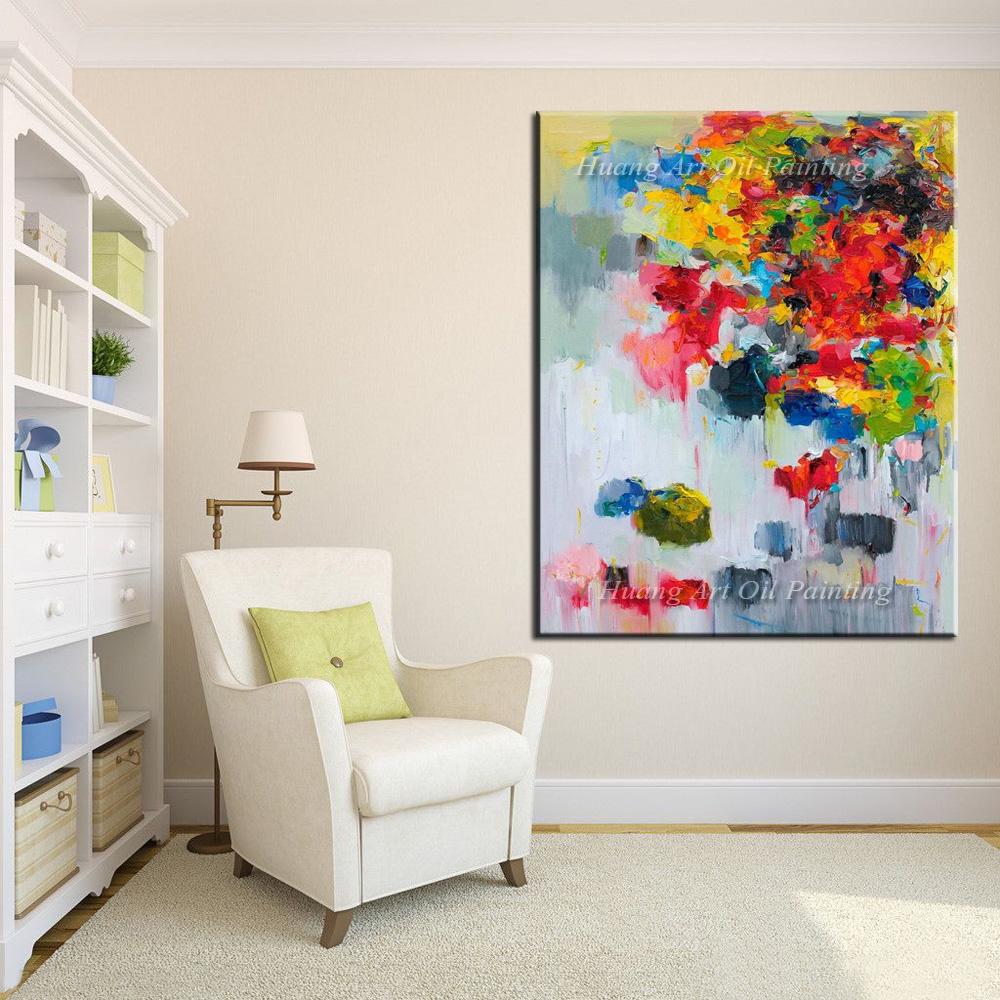 Creative Hand Painted Modern Knife Flower Abstract Oil Painting Wall Decor Colorful Landscape For Room Decor Painting On Canvas in Painting Calligraphy from Home Garden