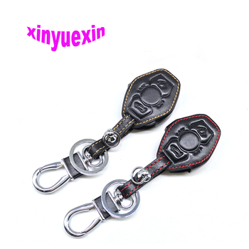 Xinyuexin Leather Car Key Cover Fob Case For BMW X3 X5 Z3 Z4 3 5 Series 3 Buttons Leather Key Case With Keychain No Logo image