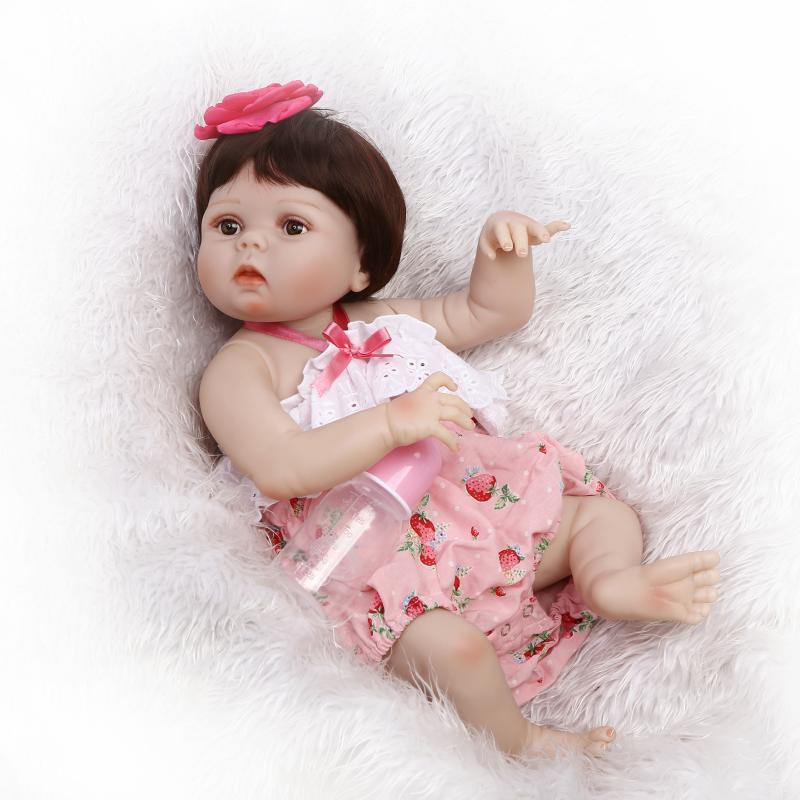 56cm Full Silicone Kawaii Doll Reborn Baby can into the Water Bath Realistic Reborn Dolls Babies Collectible Dolls for Toy Girls kawaii baby dolls