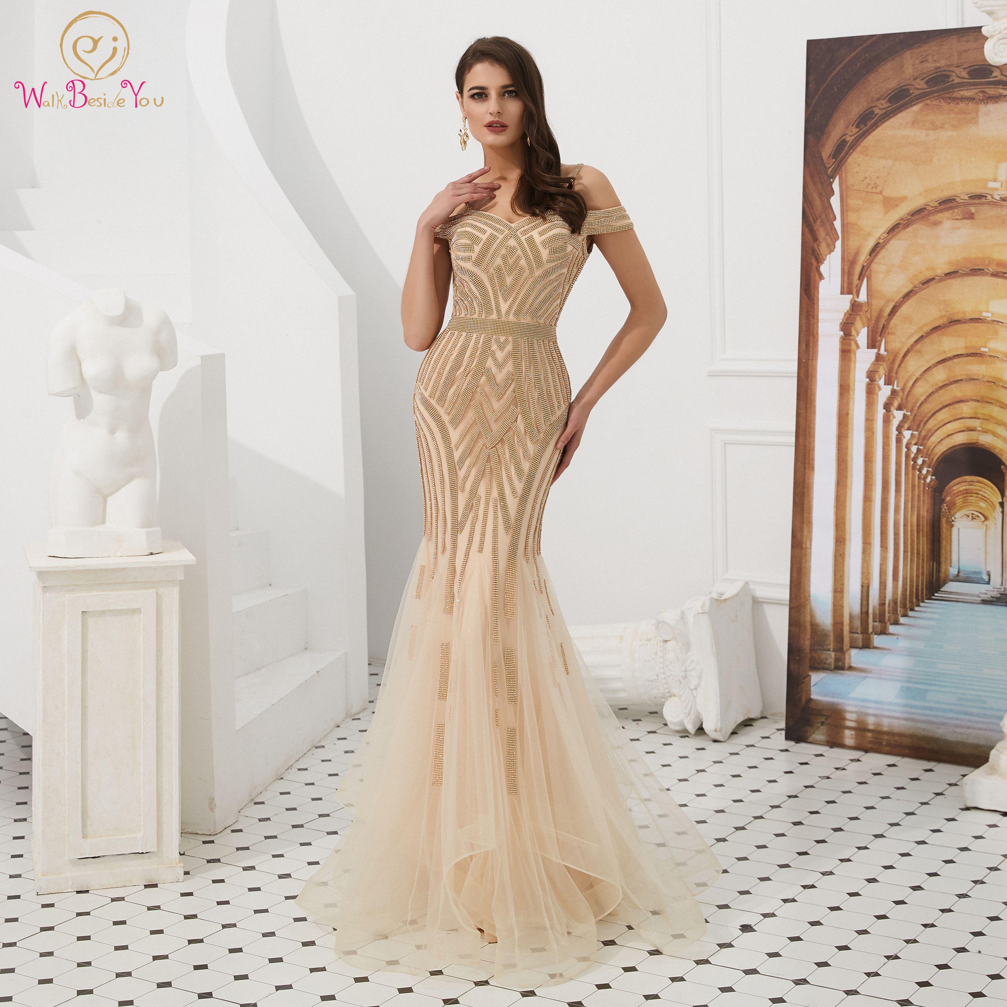 Elegant Gold Mermaid Evening Dresses 2019 Sweetheart Neck Off Shoulder Formal Party Long Gowns Luxurious Crystal Vestido De Gala
