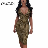 OMILKA 2017 Autumn Women Spaghetti Strap V Neck Backless Sequin Dress Sexy Gold Green Night Club