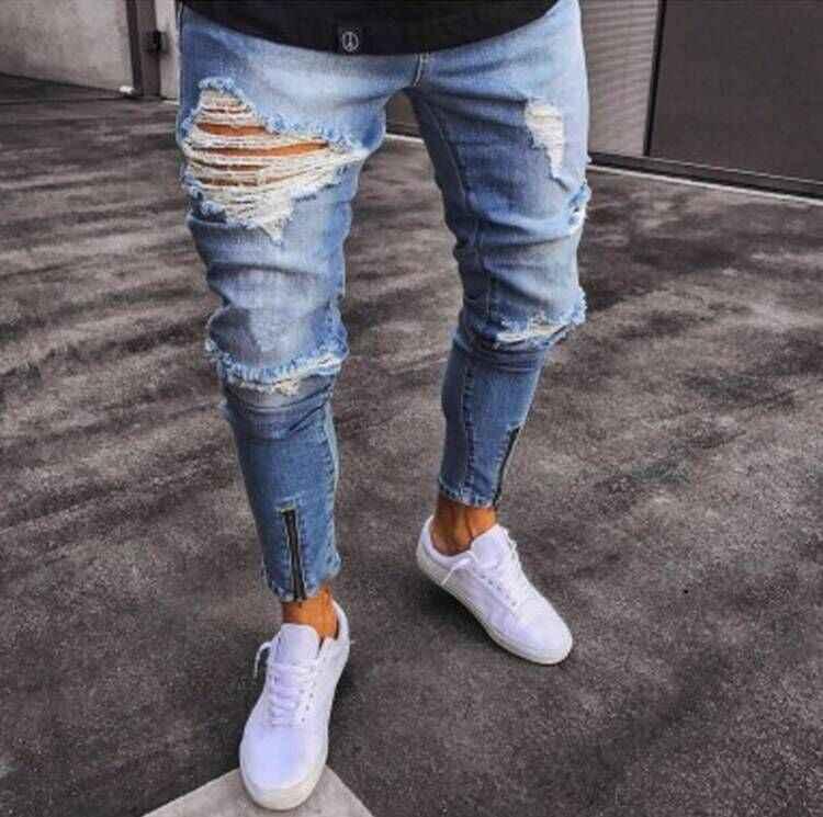23017a771 Fashion Streetwear Men Jeans Vintage Skinny Destroyed Ripped Elastic Zipper  Jeans Pants Homme Hip Hop Jeans