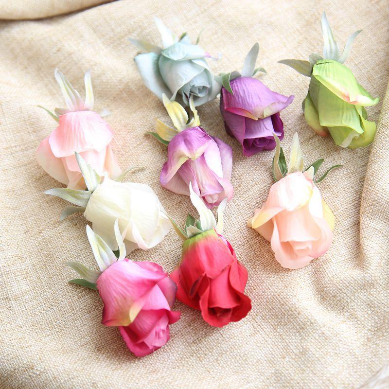 10PCS Artificial Roses 6cm Silk Flower Heads Diy Hat Shoe Decorative Flowers Wrist Boutonnier Wedding Flowers thumbnail