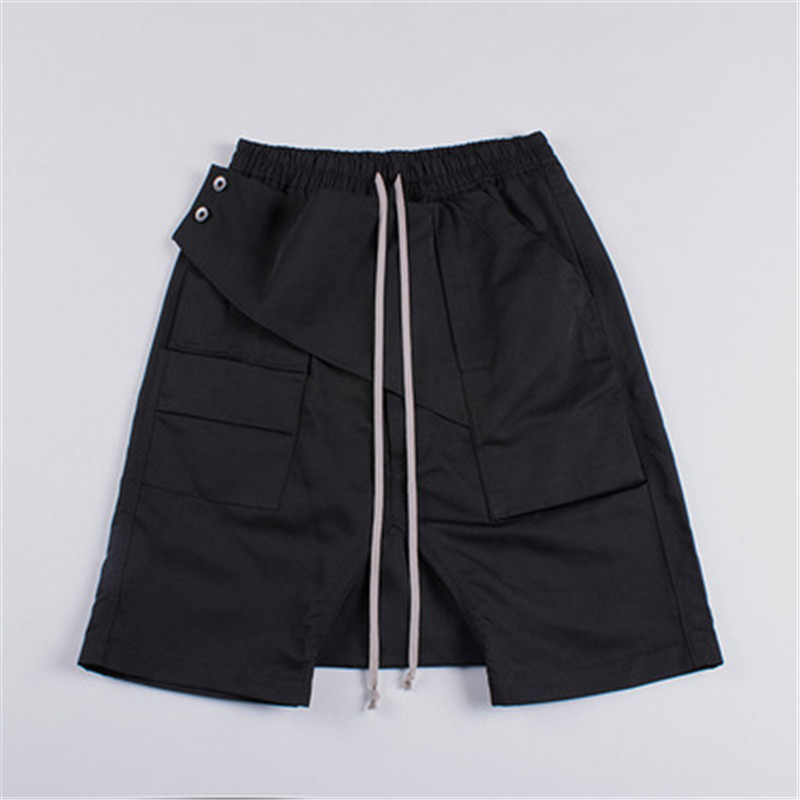 2019 Men Lace Up Beach Shorts Darkness Owen Gothic Casual Black Ro Shorts High Street Fashion British style loose sweatpants