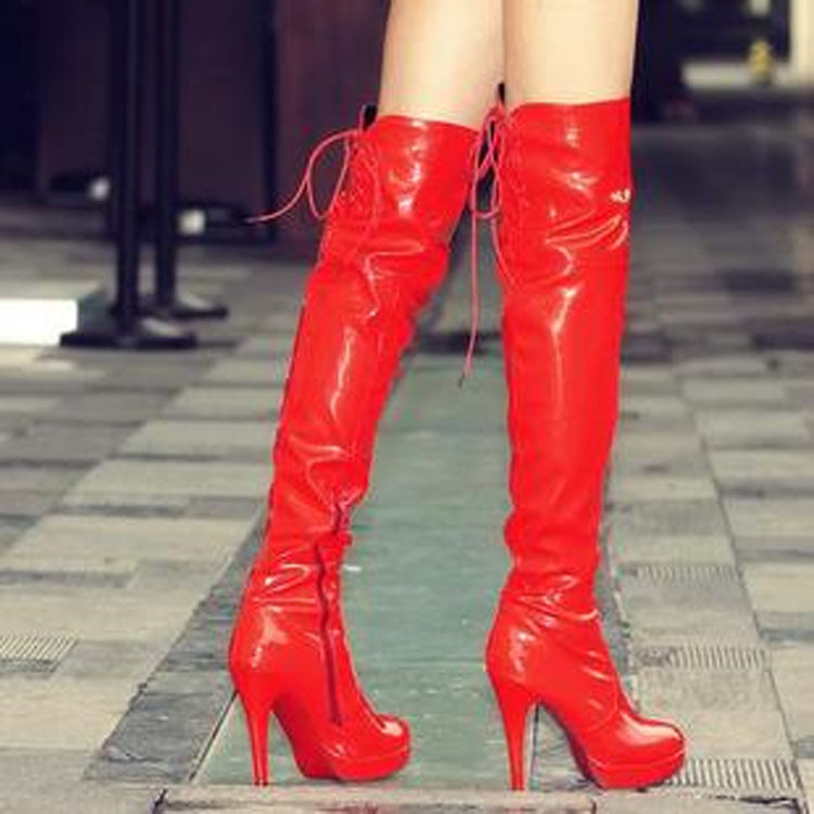 2015 women's fashion sexy nightclub pole dancing boots patent leather knee boots