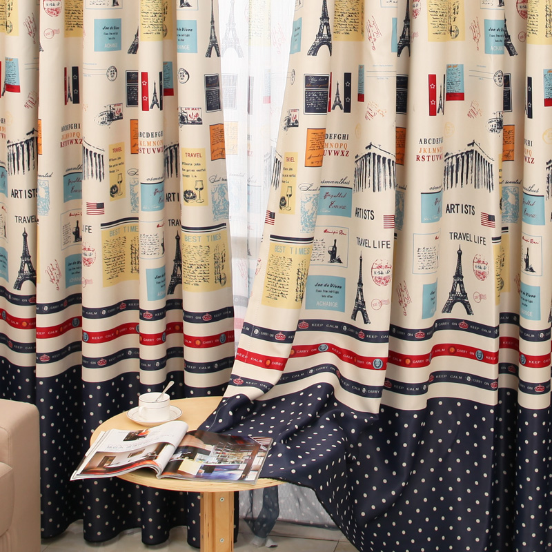 ... New Design Mediterranean Style Curtains For Living Room Paris Tower  Kids Boys Cortina Blackout Curtains For ...