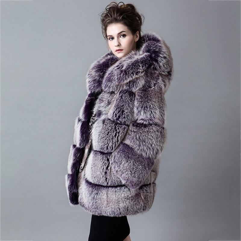 Plus Fille Manteau 2018 Renard 100 La Survêtement Taille Gris Mode Femmes Fox Épaisse Silver Réel Naturel D'hiver Fourrure Marque Chaud a4pw45q