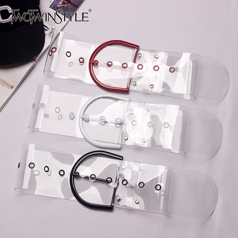TWOTWINSTYLE Transparent Female Hollow Out High Waist Wide Belts 2020 Summer Womens Fashion Harajuku Clothing