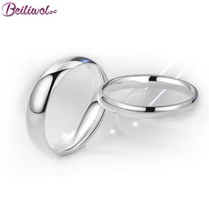 Beiliwol Silver Color Men Wedding Rings for Women Fashion Titanium Steel Simple Couple