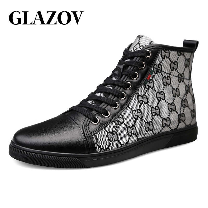 GLAZOV Brand New High Top Casual Shoes For Men Genuine Leather Lace Up Mens Hip Hop Shoes Men High Top Sneaker Big Size 38-46 new mens blue multi pocket jeans hip hop loose jeans men baggy denim shorts jeans for men summer men s big plus size 30 46