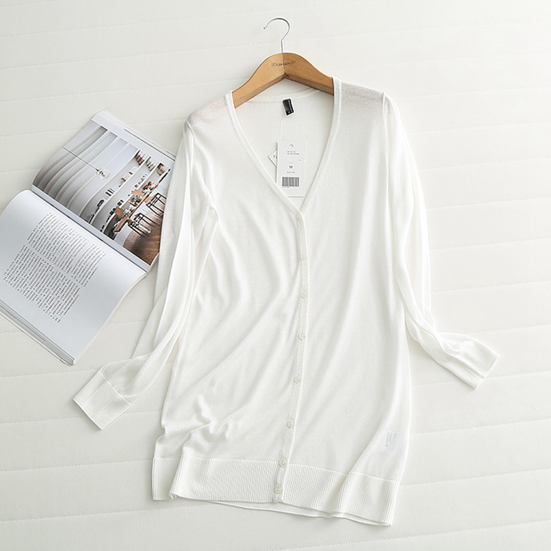 RejinaPyo 2018 New Arrival Wild Silk Yarn Women's Solid Long Sweater Cardigans High Quality Single Breasted V-Neck Breathable