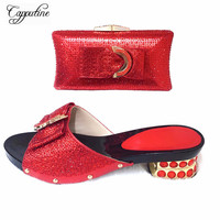 Red Color African Shoes And Bag To Match High Quality Italian Pumps Shoes And Bag Set Nigerian Party Shoes And Bag Set TX 997