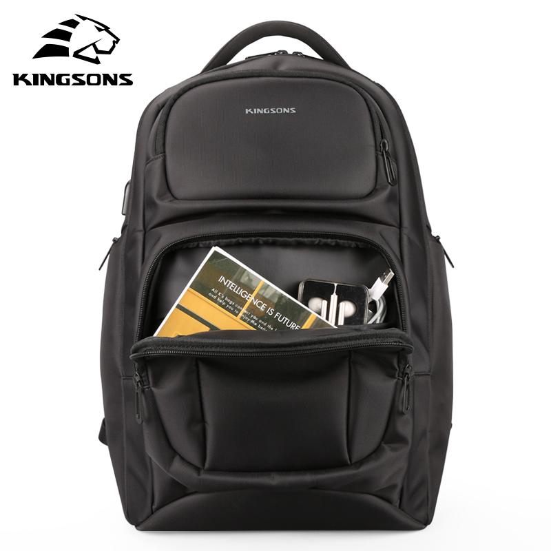 Kingsons KS3171W Large Capacity Anti-impact Men's Laptop Backpack with Charge USB cable Military Travel Bag Student School Bag