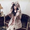 Princesa lolita doce BOBON21 camisola estudante Leopardo forro com casaco de cashmere casaco de urso em pó gradiente C1437