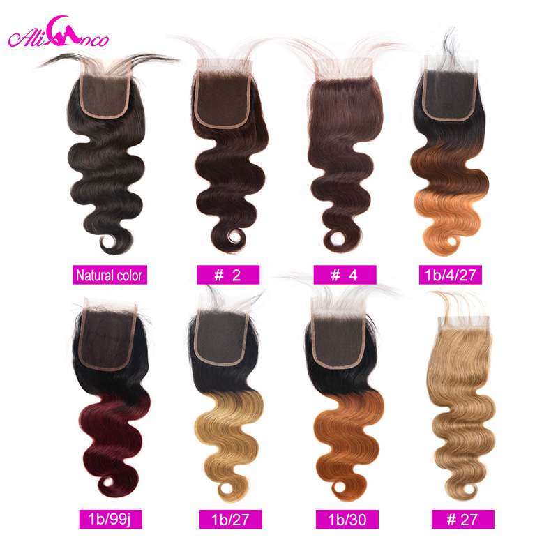 Brazilian Body Wave 4x4 Omber Lace Closure Natural Color/ #2/ #4/ 1/4/27 /1/30 100% Remy Human Hair Closure