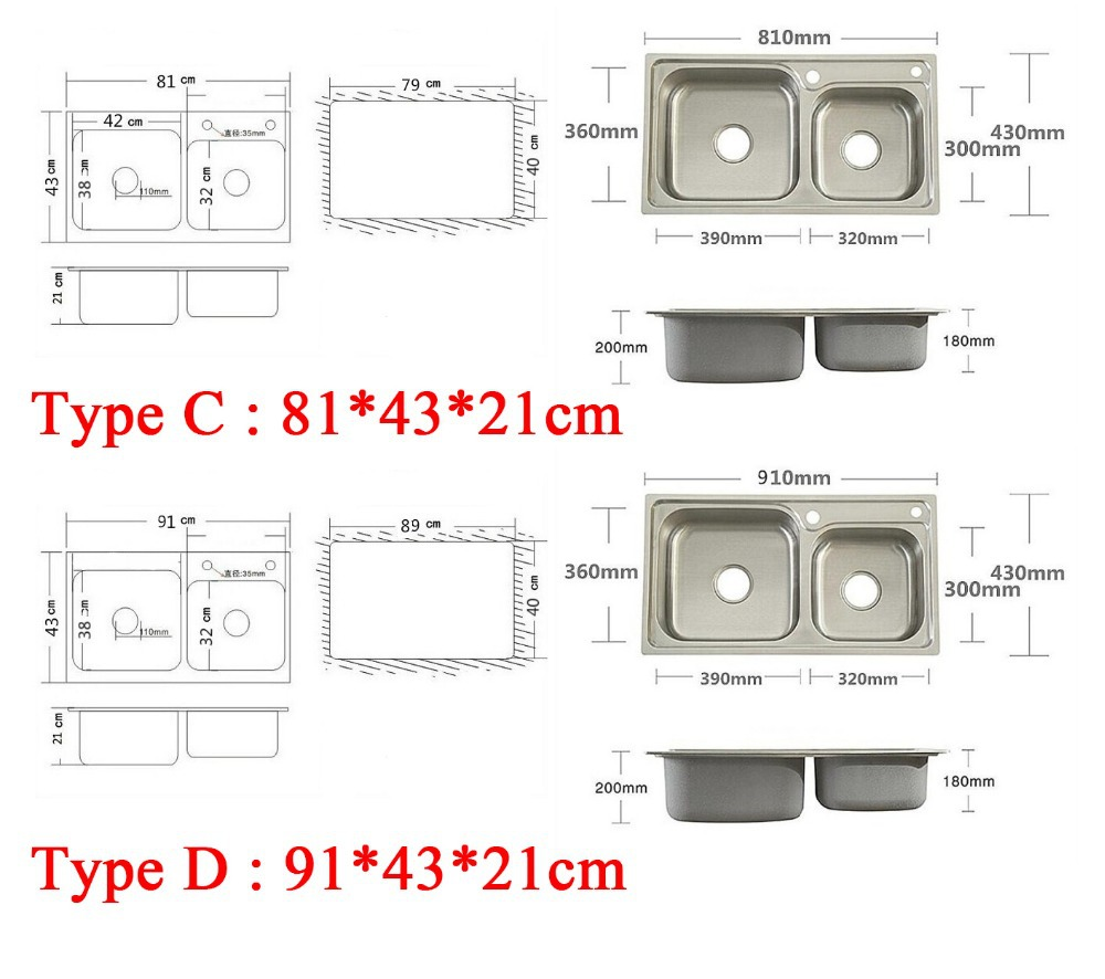 Kitchen sink dimensions - Aliexpress Com Buy 4 Sizes Double Bowl Kitchen Sinks Stainless Steel Kitchen Sink With Pull Out Sink Mixer Tap Pia Cozinha From Reliable Bowl Kitchen Sink