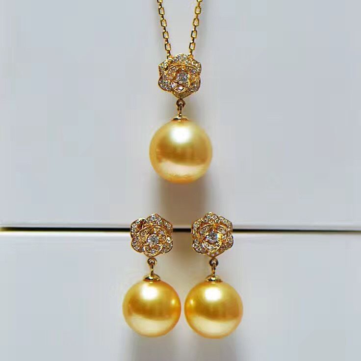 charming set of 10.5-11mm south sea gold pearl earring & pendant 14k