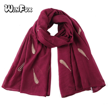Winfox Fashion Feather Scarf Women Red Navy Grey Shiny Glitter Foil Gold Polyester Scarves Shawl Female