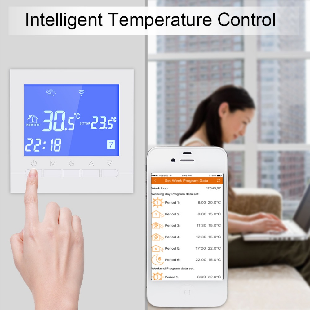 Wifi Thermostat Electric /Water Heating Thermostat 16/3A Touchscreen Smart Programmable Temperature Controller With LCD Display