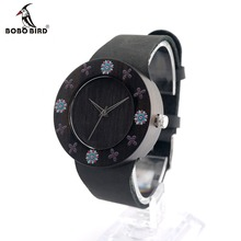 BOBOBIRD D25 Ebony Black Wood Women Dress Watch With Print Flowers For Ladies Watch With Anolog