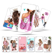 Silicone Case For BQ 5591 Cases Jeans BQ Mobile 5591 BQ5591 5.5 Bumper Cover Black Brown Hair Baby Mom Girl Queen Customer Bags цена