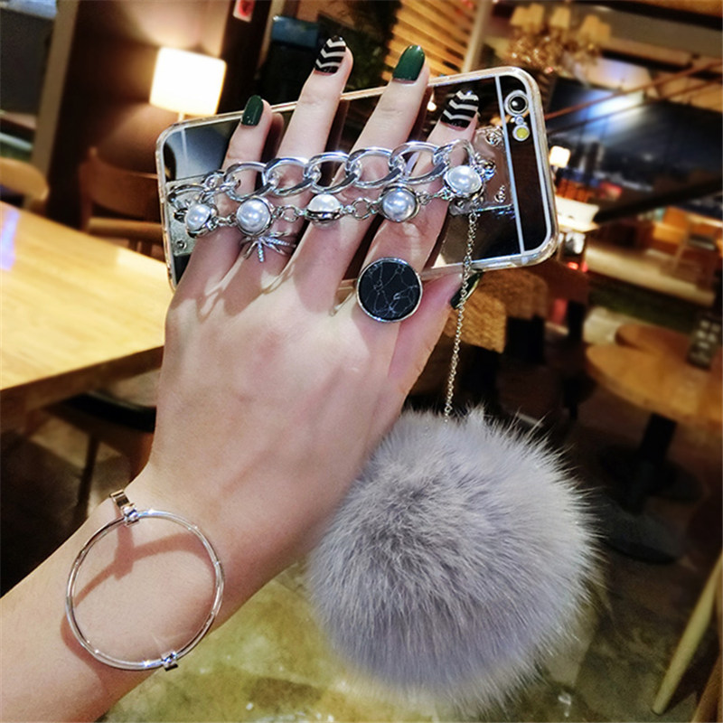For Samsung S3 S4 S5 S6 S7 edge Plus Note 3 4 5 S8 Luxury Fashion Fur ball Mirror Back cover Soft Pearl Bracelet Phone case