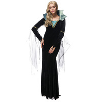 Yuerlian Halloween Costumes For Women Vampire Costumes Ladies Long Dresses Evil Queen Black Vampire Cosplay Costumes