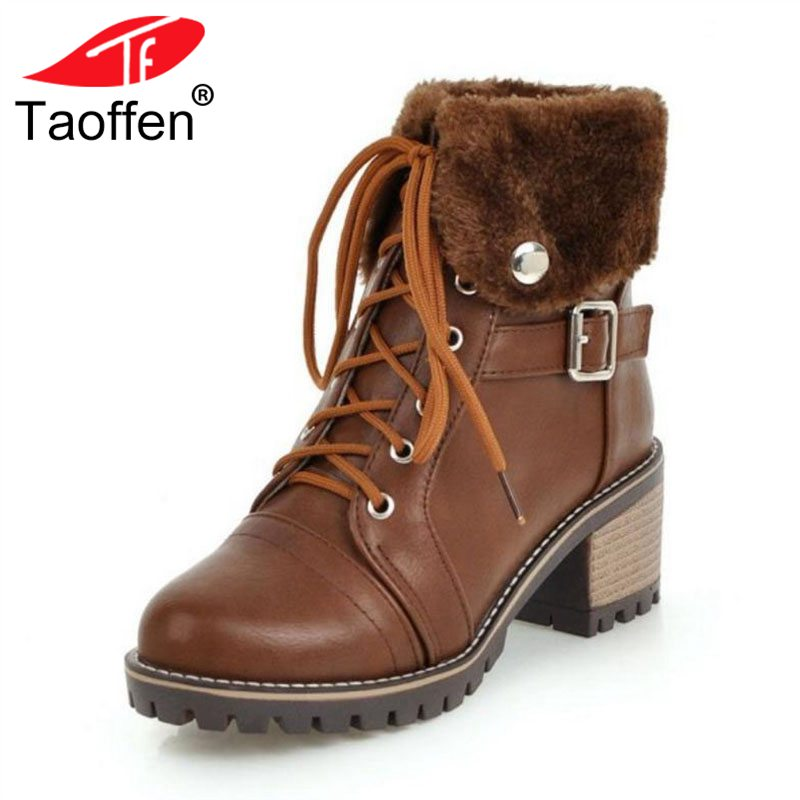 TAOFFEN Size 34-45 Fashion Women High Heel Boots Lace Up Buckle Warm Shoes Women Vintage Ankle Boots Lady Thick Heel Shoes vintage steampunk alloy buckle lace up corset for women
