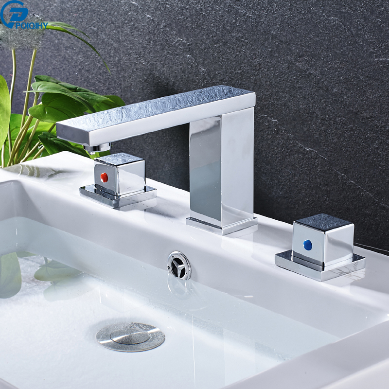 POIQIHY Chrome finished bathroom Faucet dual handle deck mounted tap long spout mixer tap with hot and cold water poiqihy chrome rain