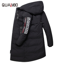 QUANBO 2018 New Winter Couple Models Down Jacket Thick Warm Long Fashion Hooded Coat 90% White duck down Slim Parkas Plus size plus size s xxl winter jackets women new fashion white duck down jacket long thick parkas for women winter free shipping b1631