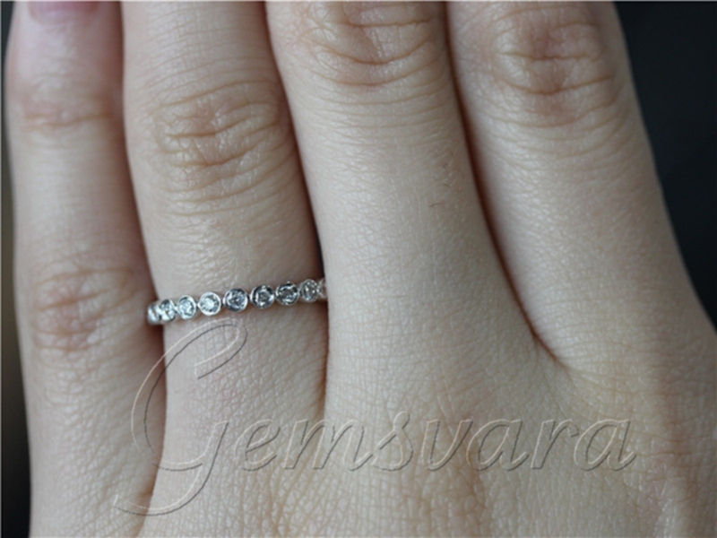 Half Eternity Band Hand Crafted 0 25ct Diamond 14k White Gold