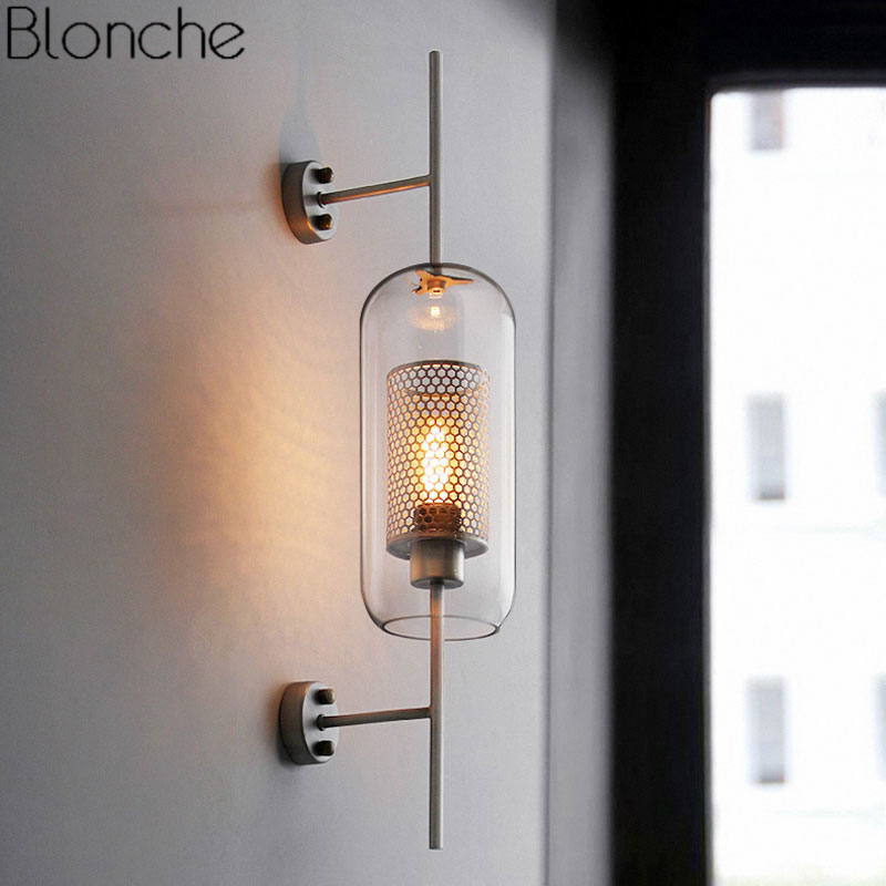 Modern Clear Glass Shade Scones Wall Lamps for Bedroom Bedsides Study Hanging Lights Loft Retro Iron Mirror Light Net Fixtures|LED Indoor Wall Lamps| |  - title=
