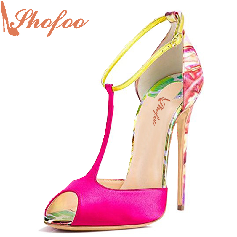 Shofoo 2017New Arrive Women Peep Toe High Heels T-Strap Sandals Party&Evening&Casual Fashion Multi Shoes,Large Size 4-16.