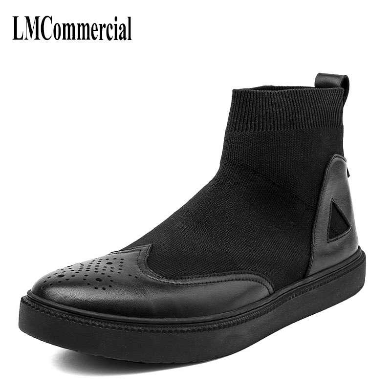 Martin black boots male high shoes retro trend of Korean young men warm winter leather short boots cowhide socks shoes serene handmade winter warm socks boots fashion british style leather retro tooling ankle men shoes size38 44 snow male footwear