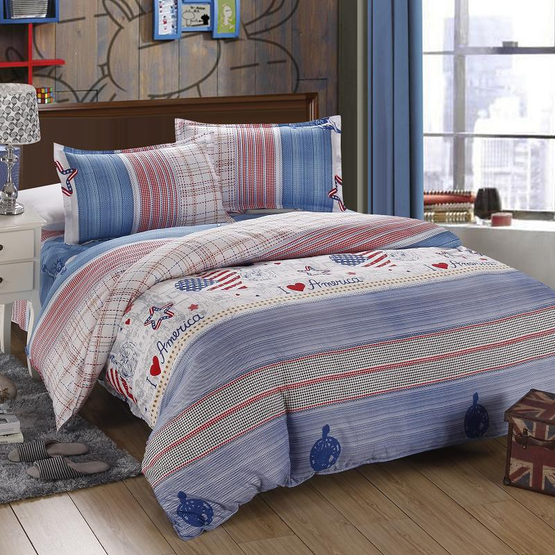 a6bb46c24b8fe 4PCS twin full size red white blue classical striped plaid percale sheets  best bed sheets teenage bedding modern comforters