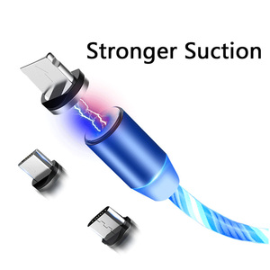 Image 2 - Магнитный кабель Rosinop 2.4A для быстрой зарядки 3 в 1 для iphone, светящийся Магнитный зарядный кабель USB Type C для xiaomi Micro USB Android
