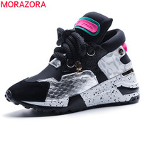 MORAZORA 2019 newest genuine leather shoes women sneakers lace up Vulcanized shoes popular wedges casual shoes ladies sneakers