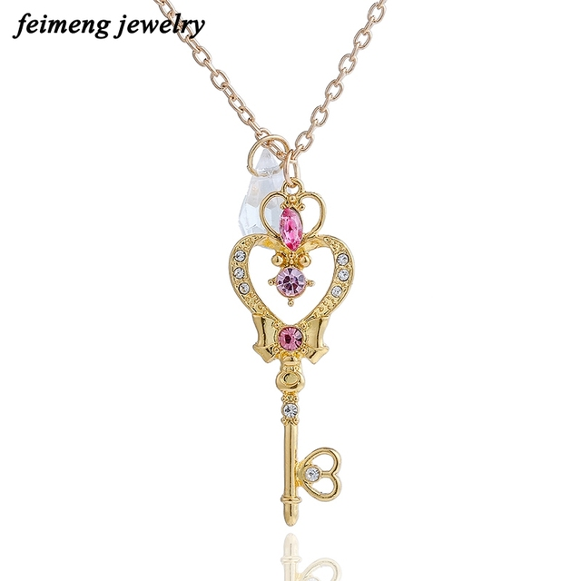 Japan sailor moon faux crystal gold color cartoon necklace moon japan sailor moon faux crystal gold color cartoon necklace moon heart key pendant cosplay necklace women aloadofball Image collections