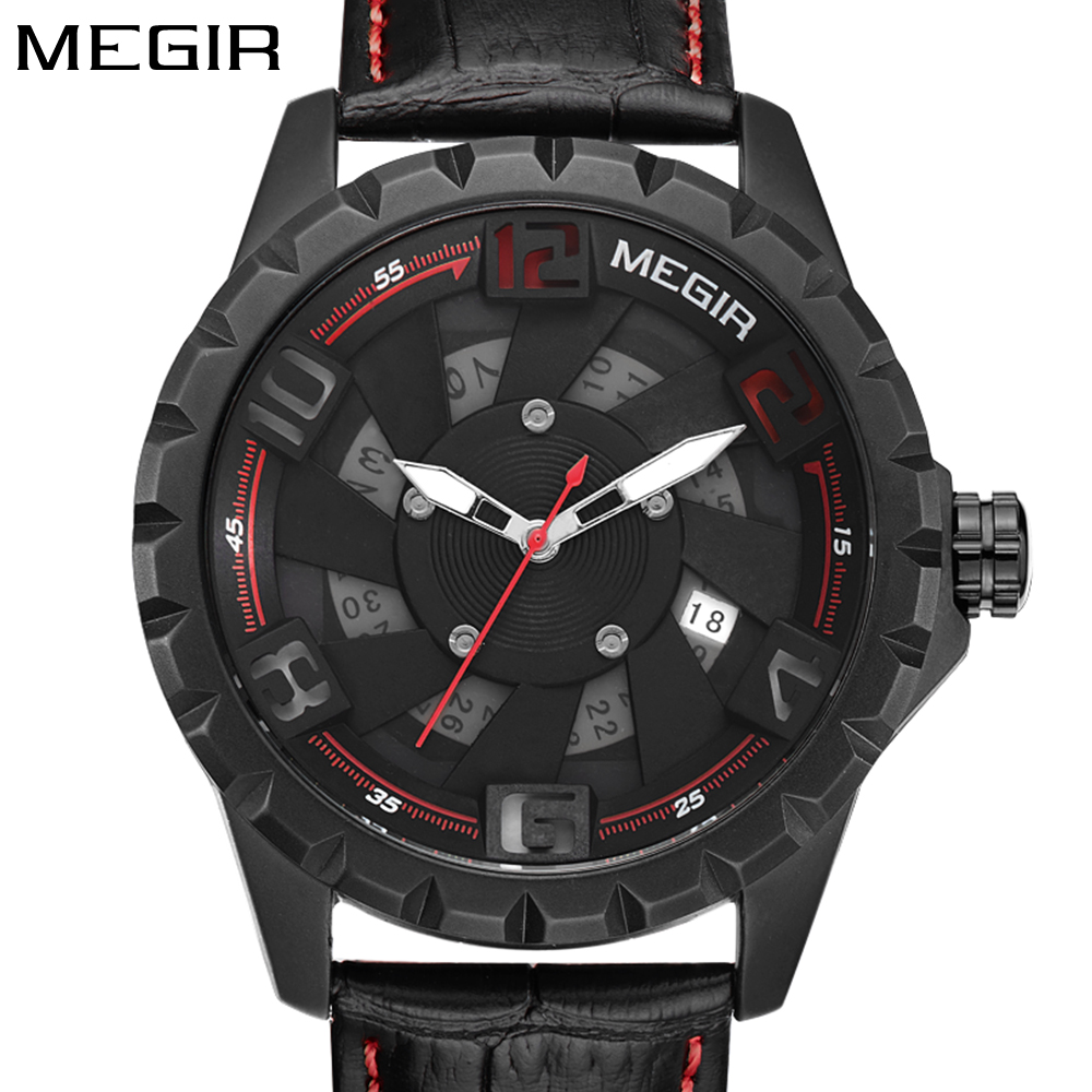 Megir creative design 3d face leather band fashion sport watch men clock top brand luxury men's wrist watches relogio masculino